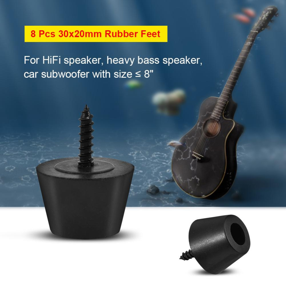 8 pcs 30x20mm rubber feet anti vibration base pad stand for speaker guitar amplifier w screws. Black Bedroom Furniture Sets. Home Design Ideas