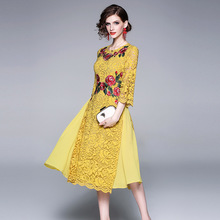 Dress Women Plus Size 2019 Spring New Flowers Embroidered Lace Patchwork Round Neck Slim A-Line Yellow Elegant Dress Midi S-XL long sleeved dress women 2019 spring summer new simple stripes turn down collar slim a line casual elegant dress midi s xl