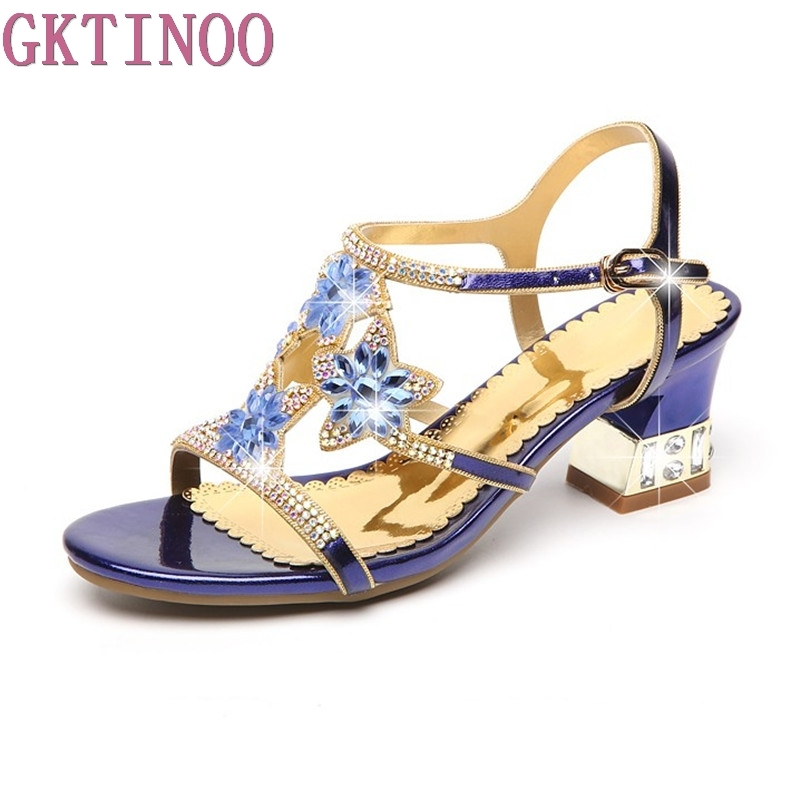 GKTINOO Summer Rhinestone Thick Heels Women Sandals Shoes Sexy Open Toe Shoes Woman High Heels Sandals Platform Big Size royal blue women sandals hollow out thick heels open toe platform shoes woman sapato feminino sandalia feminina size 14 heels
