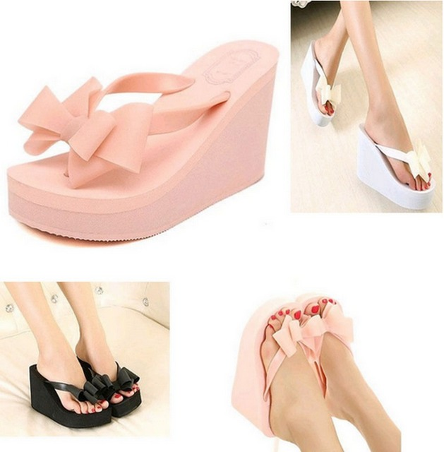 a32677667 Womens Girls Fashion Chic Rubber High Heel Platform Wedge Sandals Cute Bow  tie shoes