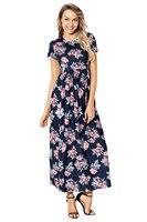 Frauen Sommer Floral Bedruckte Kleid 2018 Weibliche Tasche Design Knöchellangen Kurzarm Dark Blue Floral Sexy Maxi Kleid