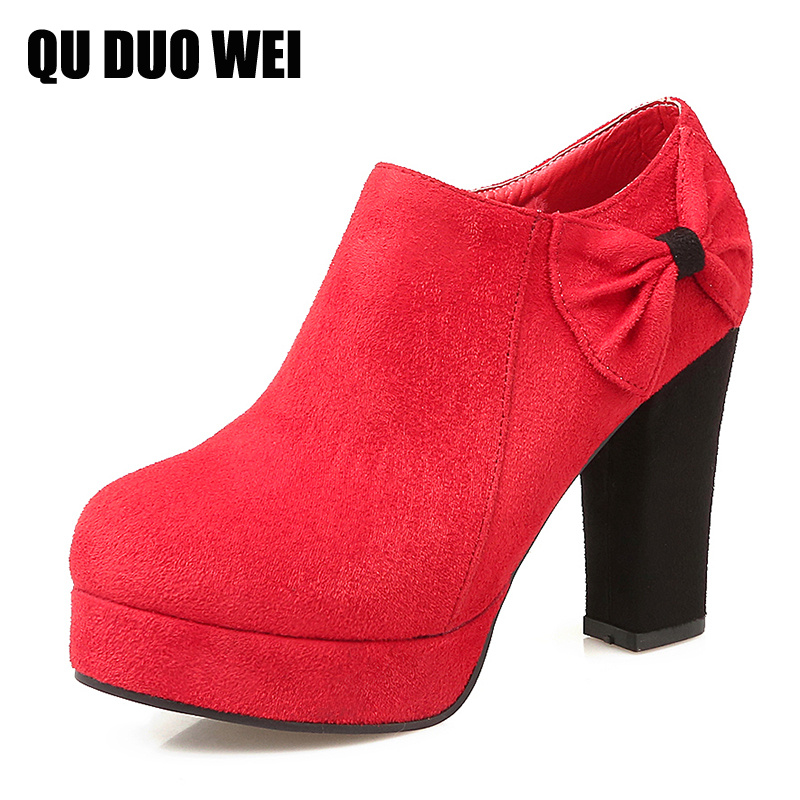ФОТО Big Size 35-43 Women Pumps Sweet Bowtie Chunky Heels Flock Leather Solid Women High Heels Thick Platform Shoes