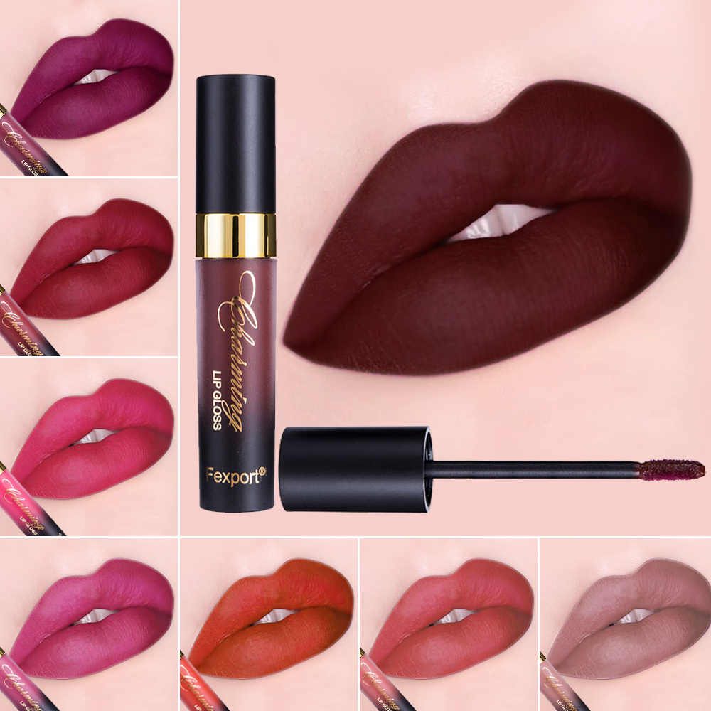 Fexport Cosmetics 12Color Fashion Liquid Matte Lipstick Longlasting Makeup Nude Longwear Lip Gloss for Wholesale Maquiagem F6101