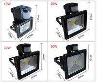 10 sztuk/partia podczerwieni pir motion sensor led reflektor 110-265 v 10 w 20 w 30 w 50 w wodoodporna ip65 do ogrodu reflektor zewnątrz światła