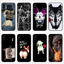 Lion tiger king Pug Black rubber Soft Silicone TPU For iphone 6 6s 7 8 Plus 5s SE Cartoon animal Phone Cover For iphone X Case(China)