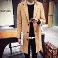 Otoño nuevos hombres de moda de color sólido en el abrigo largo con el tamaño de un solo pecho loose-tipo de versión de envío libre