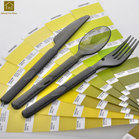 Disposable Cutlery Portable Plastic Picnic Set Dinnerware Black Flatware Portacoltelli Forks Set Posate Party Tableware LKF091