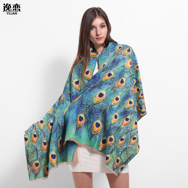 YI LIAN Brand Newest Fashion Peacock Print Spain Cashmere Shawl Winter Women Pashmina Fashionable Blue Shining and Special LA087