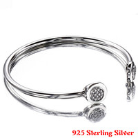 Authentic 925 Sterling Silver Bangle Pan Signature With Crystal Open Bracelet Bangle Fit Women Bead Charm