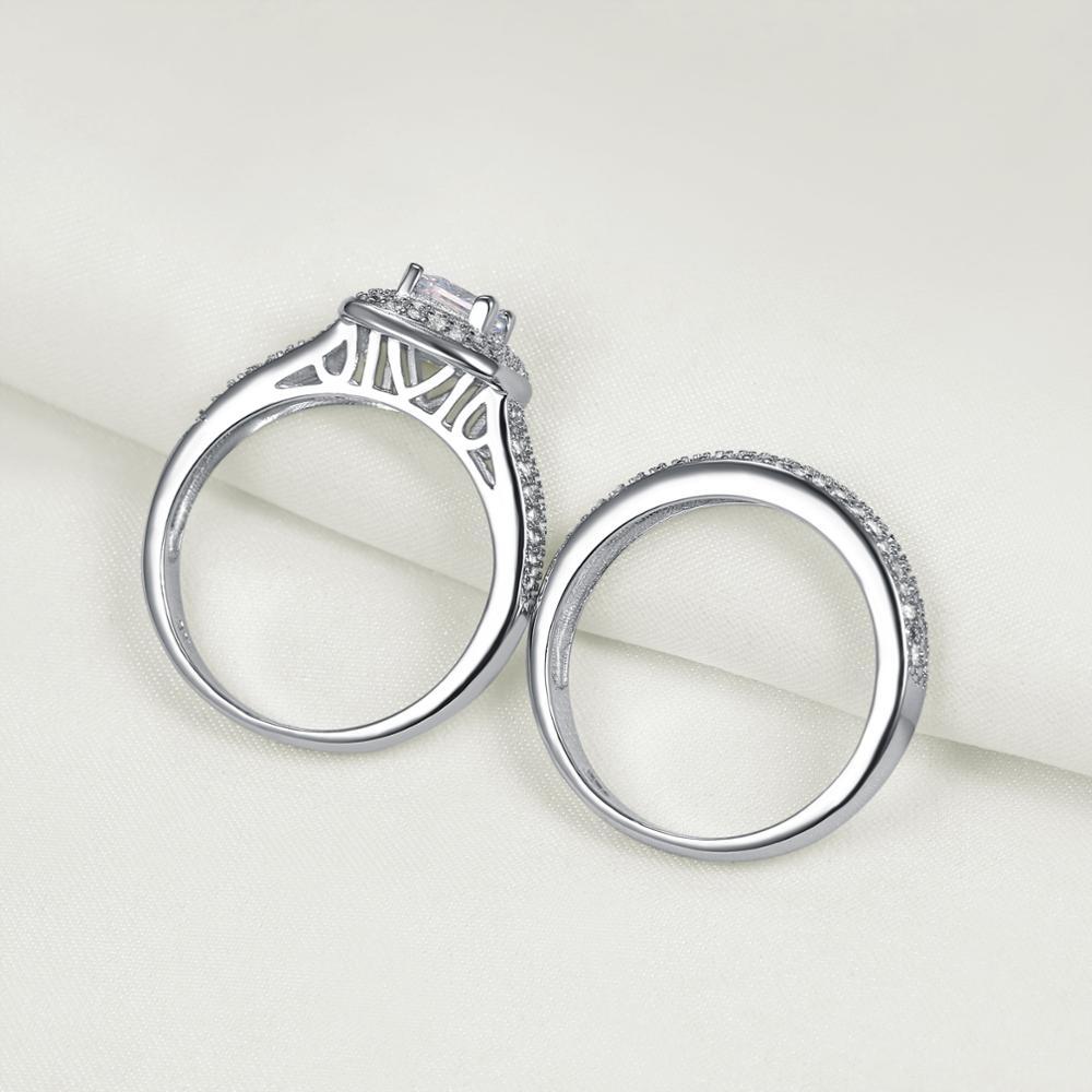 2.26 Ct Princess Cut AAA CZ 925 Sterling Silver 2 PCS Ring Set