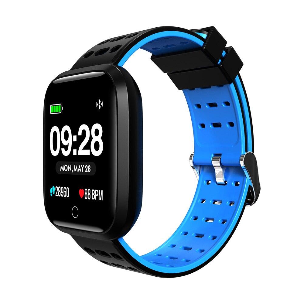 Hommes métal carré montre intelligente sport montre-bracelet en plein air bande de Silicone montres cadeaux IJS998