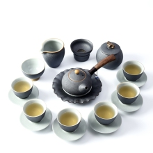 Vintage Ceramic Tea Sets Japanese Style Kung Fu Set Hand Made Pigmented Teapot Kettle Of Cups Ru Porcelain Cup