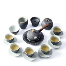 цена на Vintage Ceramic Tea Sets Japanese Style Kung Fu Tea Set Hand Made Pigmented Ceramic Teapot Kettle Set Of Cups Ru Porcelain Cup