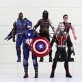 5 pçs/lote The Avengers Superheros Halk formiga - Man capitão américa com escudo PVC inverno soldado brinquedos figuras de ação 15 - 17 cm
