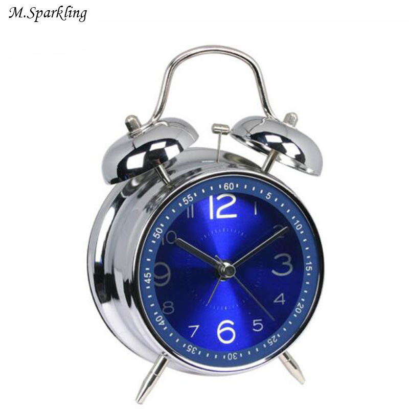 M.Sparkling Modern Alarm Clocks Metal Glass Mute Nightlight Silent Desk Clock Livingroom Bedroom Decorations Thanksgiving Gift
