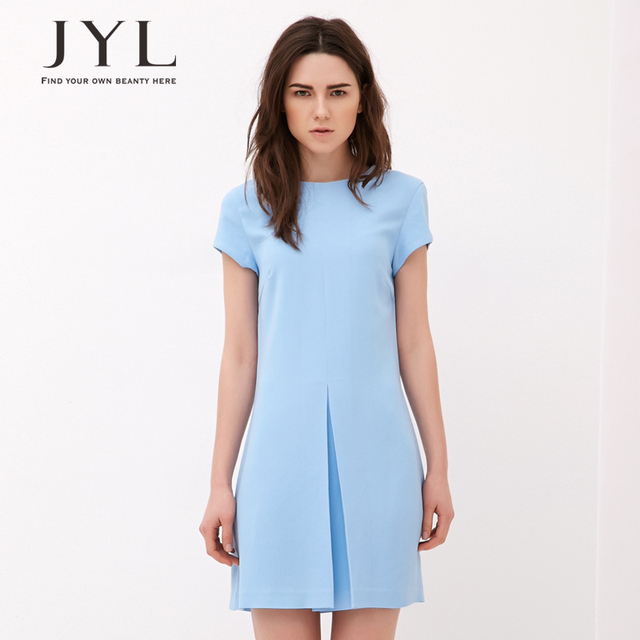 2267194b12 JYL FASHION 2014 New Summer Simple is beautiful Sky blue draped tailor  geometric shape mini dress woman with short sleeves