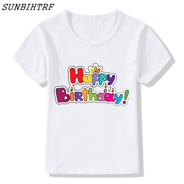 happy birthday letter print t shirt numeral harajuku t shirt kids 2018 summer casual