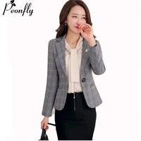PEONFLY Blazer Feminin Women gary Plaid Blazer Ol Style Slim Blazers And Jackets One Button Suit Office Jacket Elegant 3xl