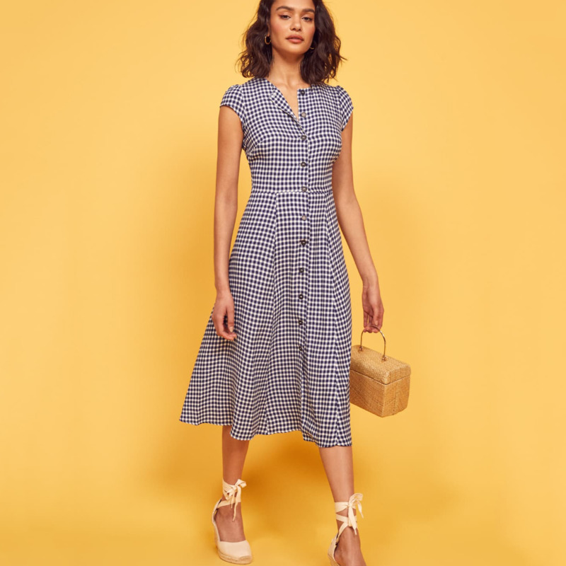 Женская винтажная одежда DEAT, длинное облегающее однобортное платье с круглым вырезом, модель WH01705S, лето 2020