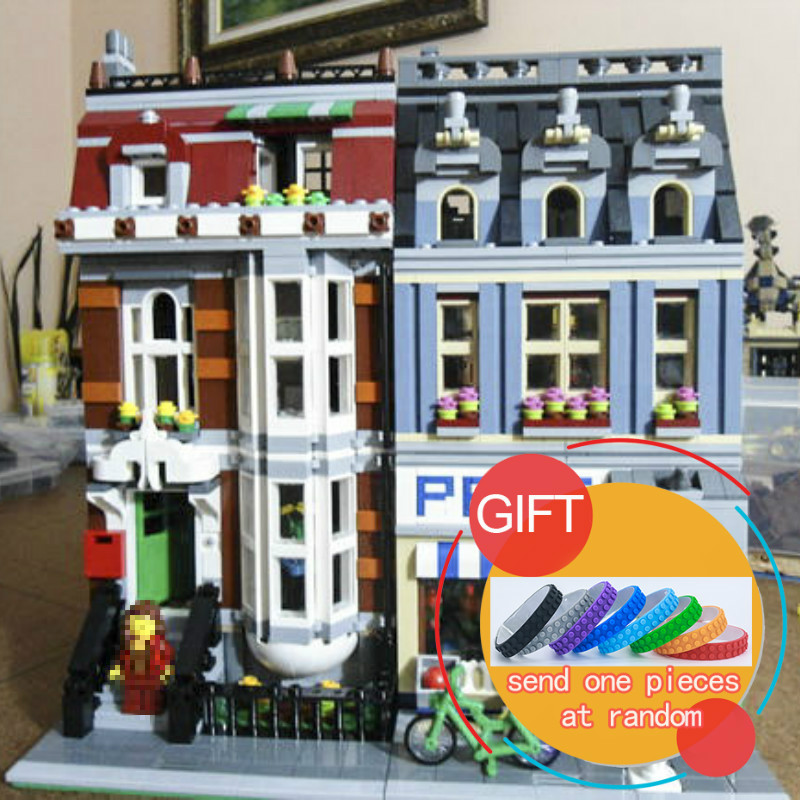 15009 2082PCS City Pet Shop Supermarket Model City Street Building Blocks Compatible with 10218 Toys For Children lepin a toy a dream lepin 15008 2462pcs city street creator green grocer model building kits blocks bricks compatible 10185