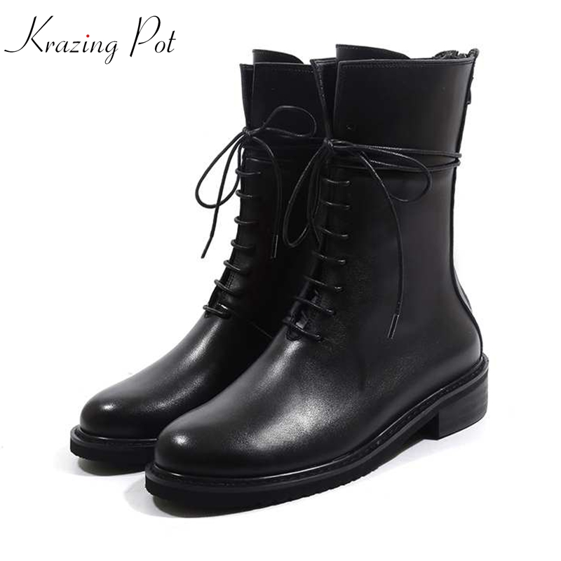 Krazing Pot genuine leather round toe streetwear med heels bigger size British school oxfords motorcycle preppy
