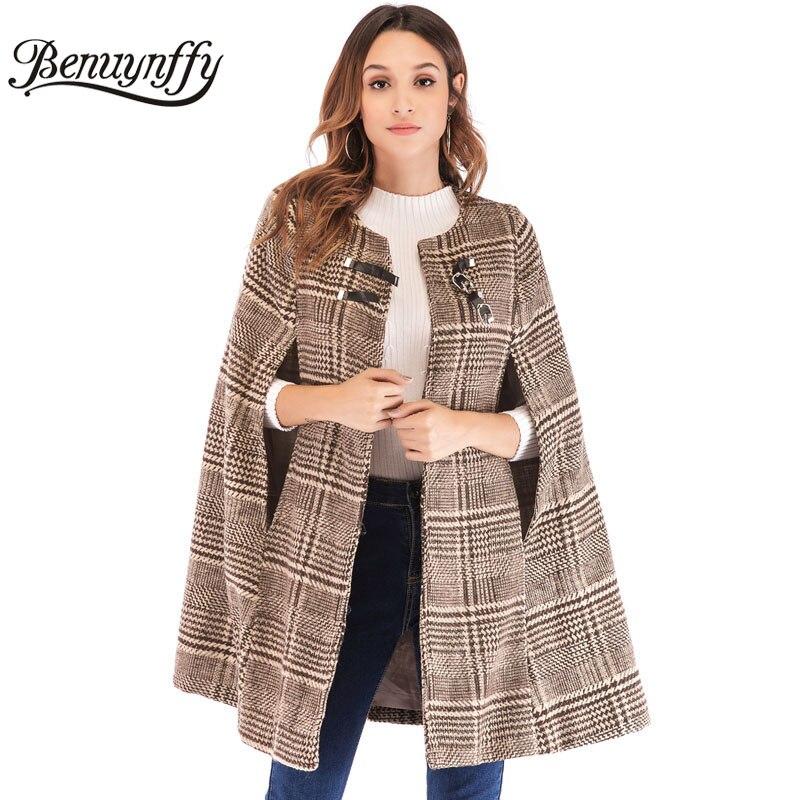 Benuynffy femmes en cuir boucle Cape manches Plaid Tweed Cape manteau automne hiver élégant OL vêtements de travail vêtement d'extérieur pour femmes manteaux