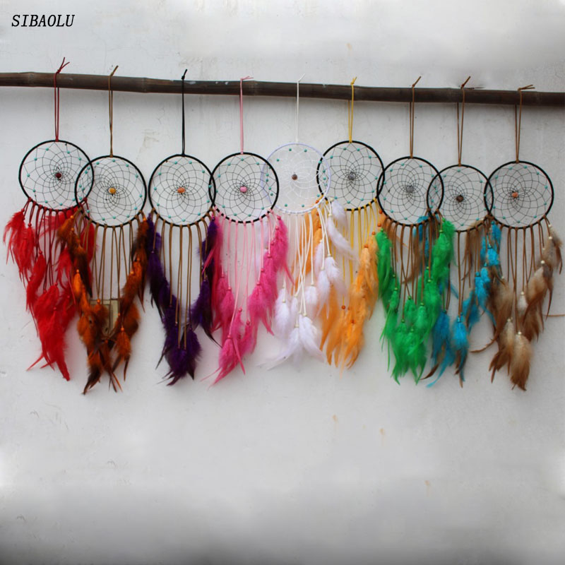 2017 baru disign home decor dreamcatcher dream catcher bulu melingkar hiasan dinding mobil ornamen hadiah