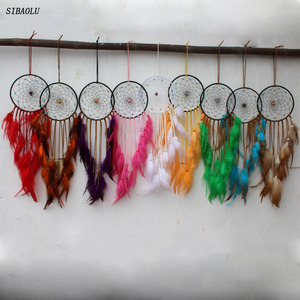 2017 new disign home decor dream catcher circular feathers wall hanging car decoration dreamcatcher ornament gift