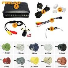 10-Цвет автомобиля 8-Сенсор парковка Сенсор + 2 шт. 16.5 мм Мини Камера двойной визуальный заднего Видео Парковочная радар Системы # fd-923