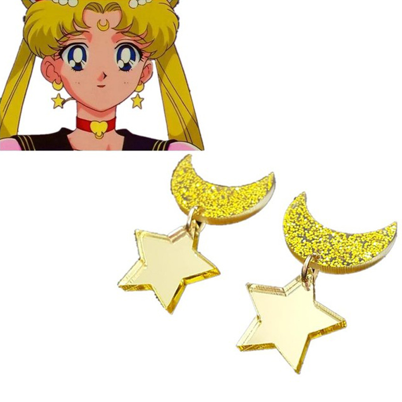 Anime Sailor Moon Cosplay Kawaii Star Moon Space Earrings Ear Clip Cosplay Props