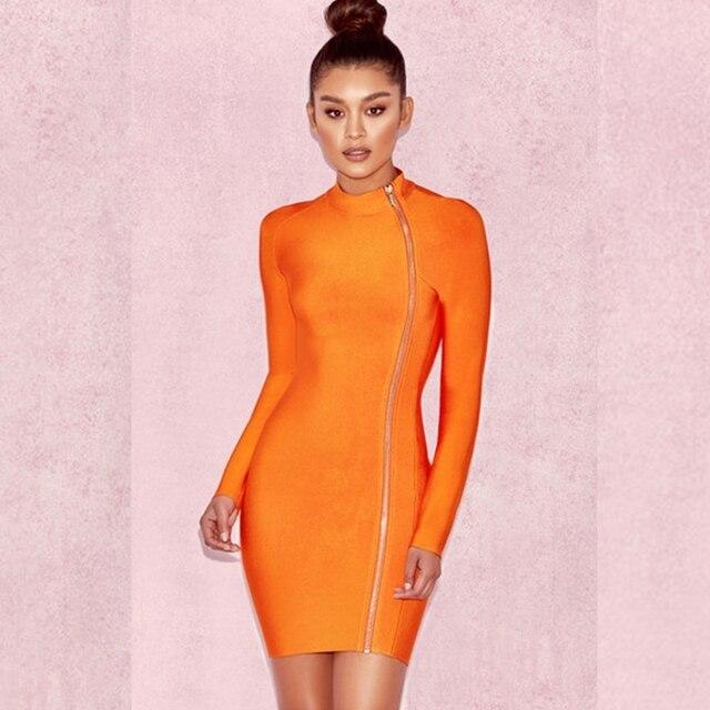 2018 orange long sleeve Front side zipper elegant bandage dress chic summer  celebrity night wear vestidos party dresses clubwear 502fe7e35