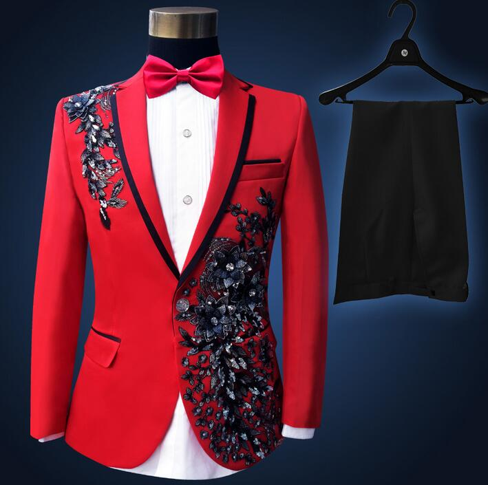 Mens Sequins clothes jacket star style Formal Suits Embroideried Sz 2pics pants