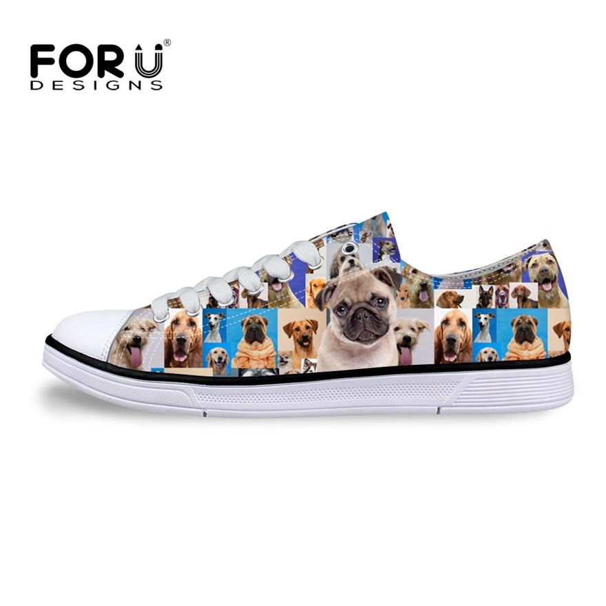 Forudesigns Mode Frauen Vulkanisieren Schuhe Klassische Low Stil Lace Up Leinwand Schuhe Niedliche Weibliche Pet Bulldog Flache Schuhe Einzelhandel