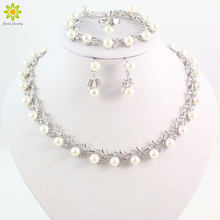 Wholesale Fashion Silver Color Crystal Simulated Pearl Wedding Costume Jewelry Sets Necklace Earrings Set For Women Bridal(China)