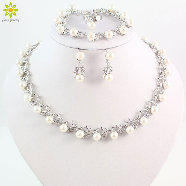 d10938112 Wholesale Fashion Silver Color Crystal Simulated Pearl Wedding Costume  Jewelry Sets Necklace Earrings Set For Women Bridal