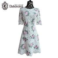 DABUWAWA оригинальный o Средства ухода за кожей шеи короткий рукав белый элегантный Кружево платье Для женщин Винтаж линия флоры печатных плать