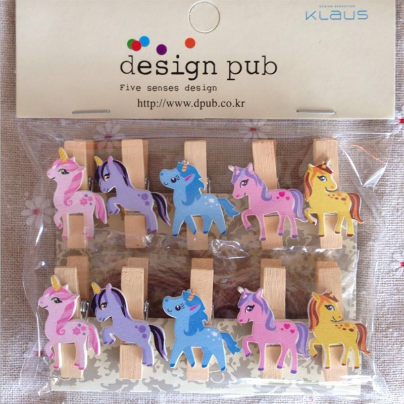 10 pcs/lot Unicorn Wooden DIY Photo Clips Birthday Party Decorations Kids Handmade Cute Unicorn Photo Clip For Baby Shower