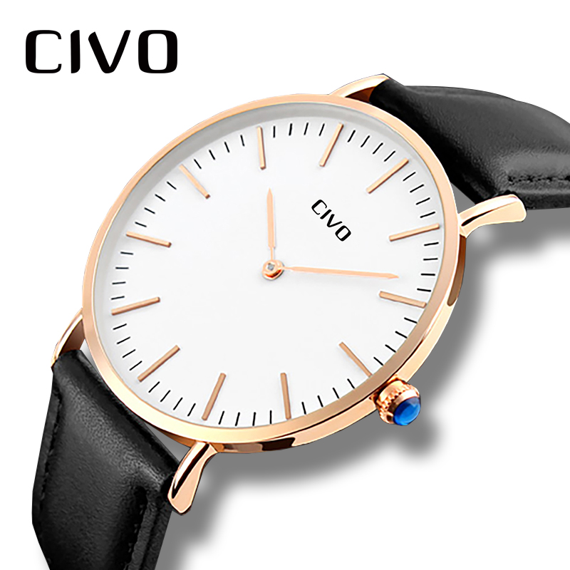 CIVO Mens Watches Top Brand Luxury Ultra Thin Analogue Quartz Watch For Men Waterproof Simple Classic Design Wrist Watches Clock woonun top brand luxury gold watches men classic man clock rhinestone crystal quartz wrist watches for men thin mens watches