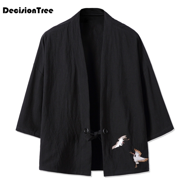 d965a91813 2019 new Chinese style linen cotton kimono jacket Cool Japanese Ethnic cardigan  coat Hiphop embroidery Streetwear Kimono