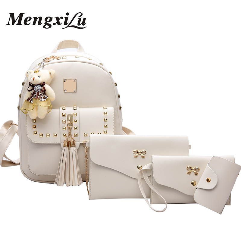 MENGXILU 4 Pcs/Set Women Backpack Rivets Women Bags Tassel Ladies Backpack Cute School Bags For Teenage Girls Pu Leather Bags faux leather tassel backpack set