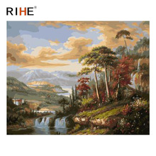 RIHE River Forest Diy Painting By Numbers Abstract Suburb Cloud Oil On Canvas Cuadros Decoracion Acrylic Wall Picture