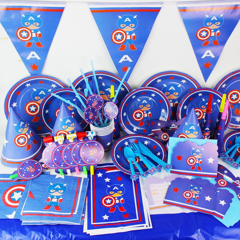luxury 78pcs 6 people use captain america theme baby birthday party decorations kids evnent. Black Bedroom Furniture Sets. Home Design Ideas