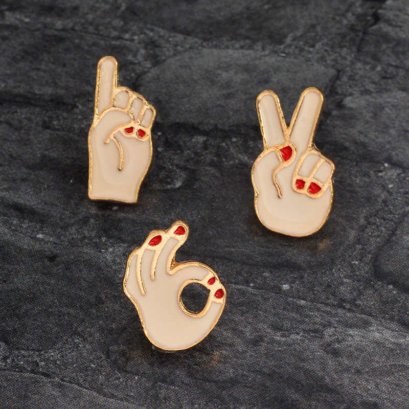 Zinc Alloy Pin dan Bros Populer Menyenangkan Ok Ya Gestur Gunting Bros Pakaian DIY Perhiasan Aksesoris Bros Wanita AFG054