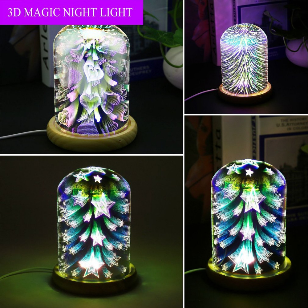 3D Night Light Magic Desk Table Lamp with Glass Cover LED USB Innovative Atmosphere Lighting with Romantic Pattern