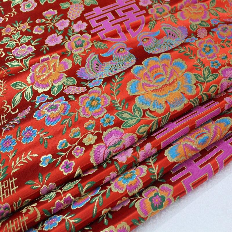 ed6584e0a25 CF94 1 ярд двойное счастье жаккардовая парча ткань китайский стиль  Cheongsam ткань для китайское свадебное платье античный лоскутное