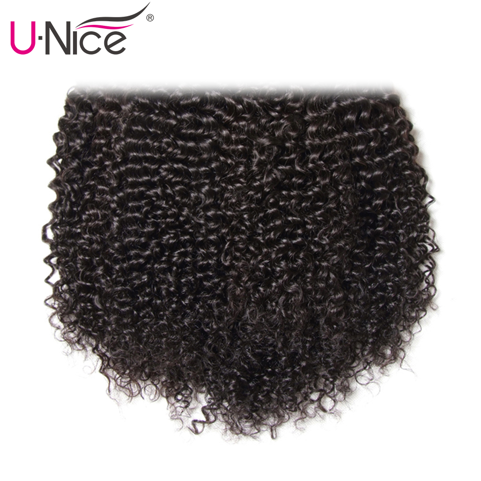 UNice Hair Curly Weave Human Hair With Closure 4/5PCS Brazilian Remy Hair Weave Bundles with Closure Swiss Lace Hair