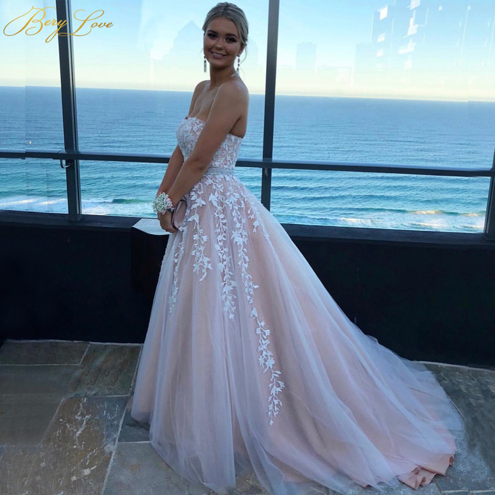 Wedding Gown With Neck Detail: BeryLove A Line Blush Pink Wedding Dresses 2019 Strapless