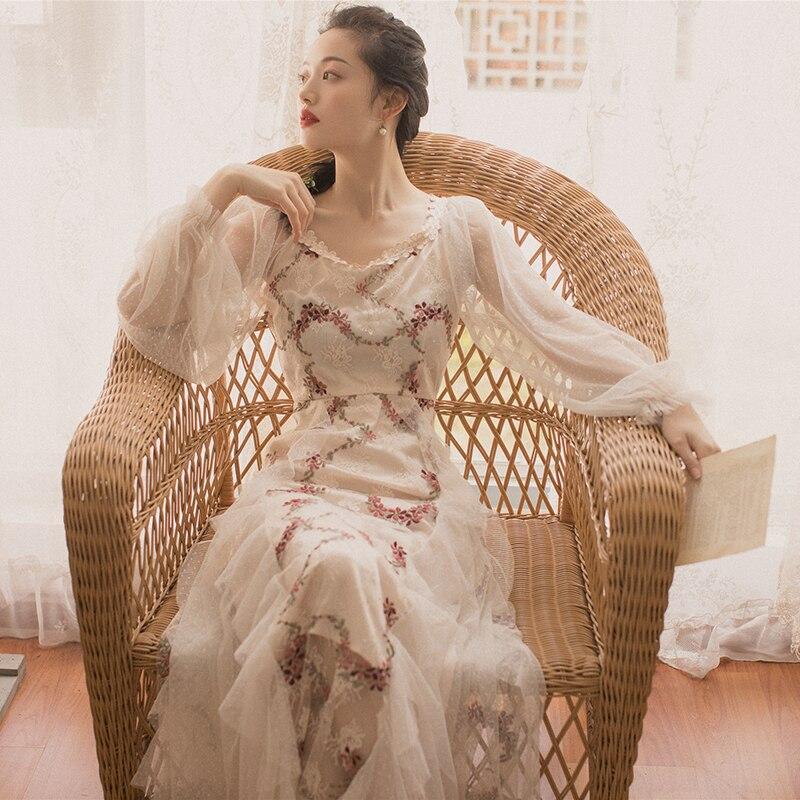 KHALEE YOSE Floral broderie Maxi robe décontracté Chic longue fête femmes robes à manches transparentes volants vacances fée robe d'été