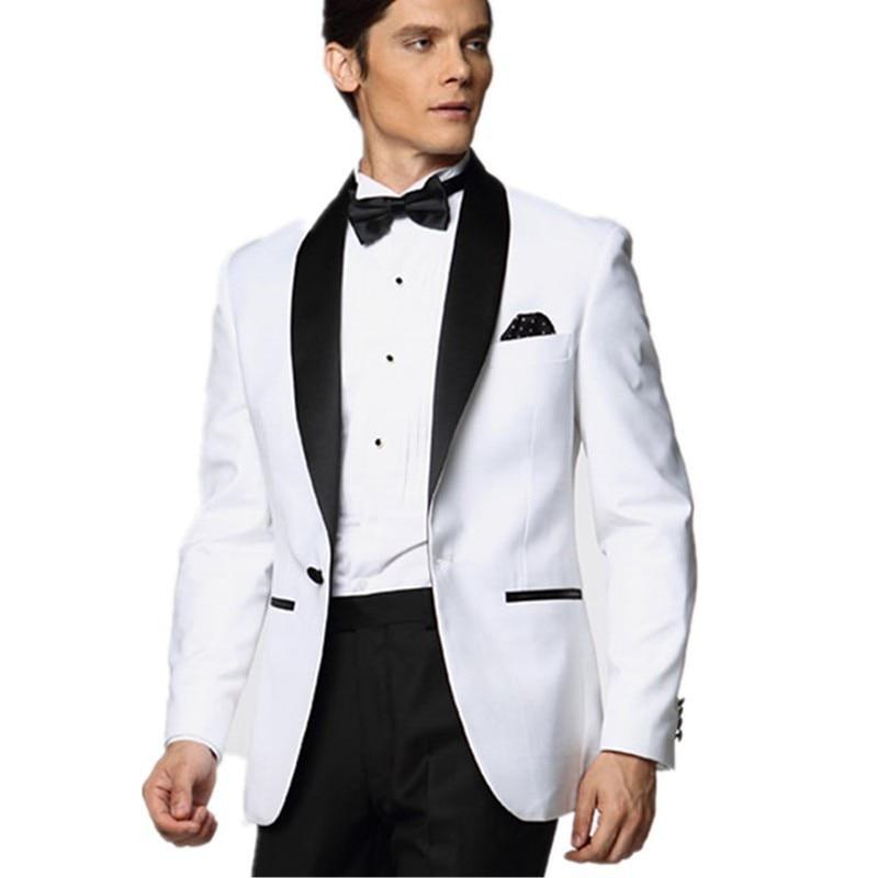 c18697612 Trajes blancos de moda para hombres personalizados baile de graduación chal  solapa hombres trajes formales personalizados (chaqueta + Pantalones +  corbata) ...
