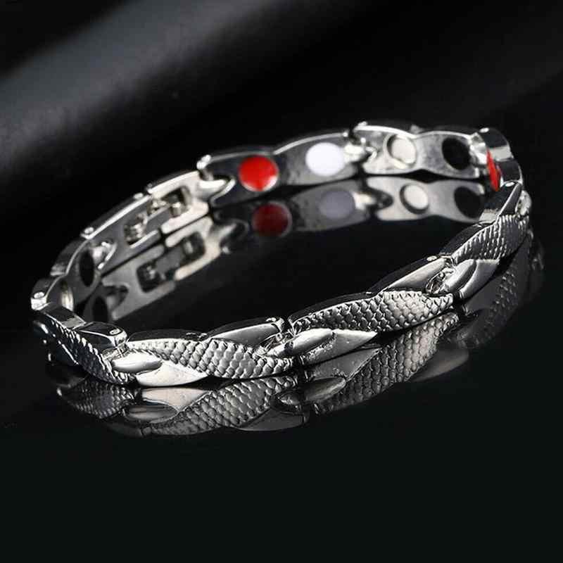 Bracelet en argent de thérapie magnétique réglable Bracelet en acier inoxydable Dragon énergie or bracelets hommes femmes accessoires de bijoux de soins de santé